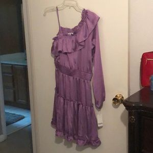 Short ruffled one shoulder purple dress Macy's